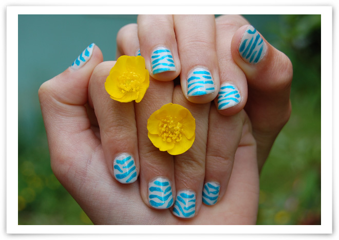 Blue Zebra 1 Blue Zebra Nail Art