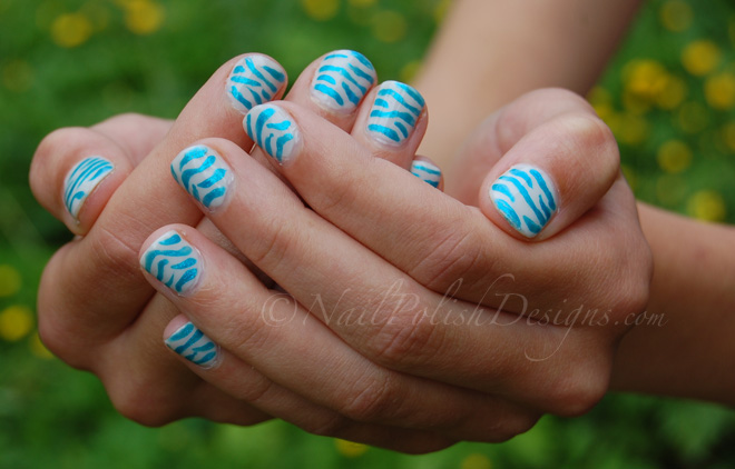 Blue Zebra 21 Blue Zebra Nail Art
