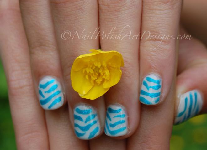 Blue Zebra 4 Blue Zebra Nail Art