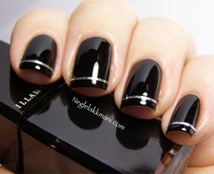 Holographic Striping Tape on Black Nail Art Manicure ...