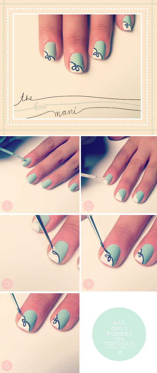 TBDbowmani1 Mint Green Bow Nail Art Manicure