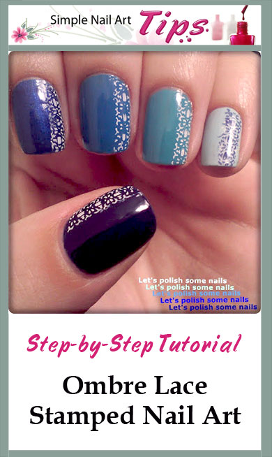 Blue Ombre Lace Nail Art Blue Ombre Lace Stamped Nail Art