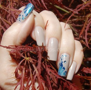 Blue Marble Flower Nail Art Tutorial 1 300x297 Blue Marble Flower Nail Art Tutorial 1