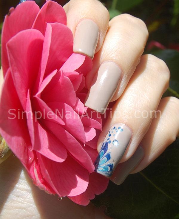 Blue Marble Flower Nail Art Tutorial 3 INTERMEDIATE: Blue Marble Flower Nail Art Tutorial