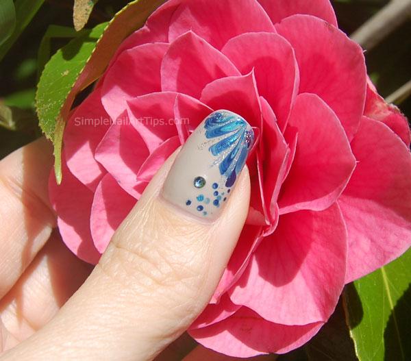 Blue Marble Flower Nail Art Tutorial 4 INTERMEDIATE: Blue Marble Flower Nail Art Tutorial