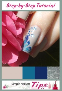 Blue Marble Flower Nail Art Tutorial 7 204x300 Blue Marble Flower Nail Art Tutorial 7