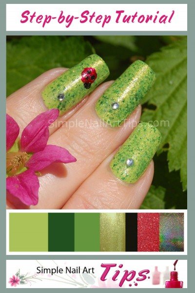 Green Leaf Ladybug Nail Art tutorial 1 e1337216773136 Green Leaf Ladybug Nail Art tutorial 1