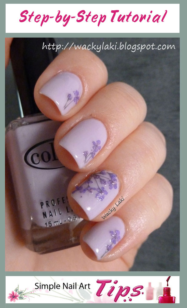Lavender Dried Flower Nail Art Tutorial | Simple Nail Art Tips