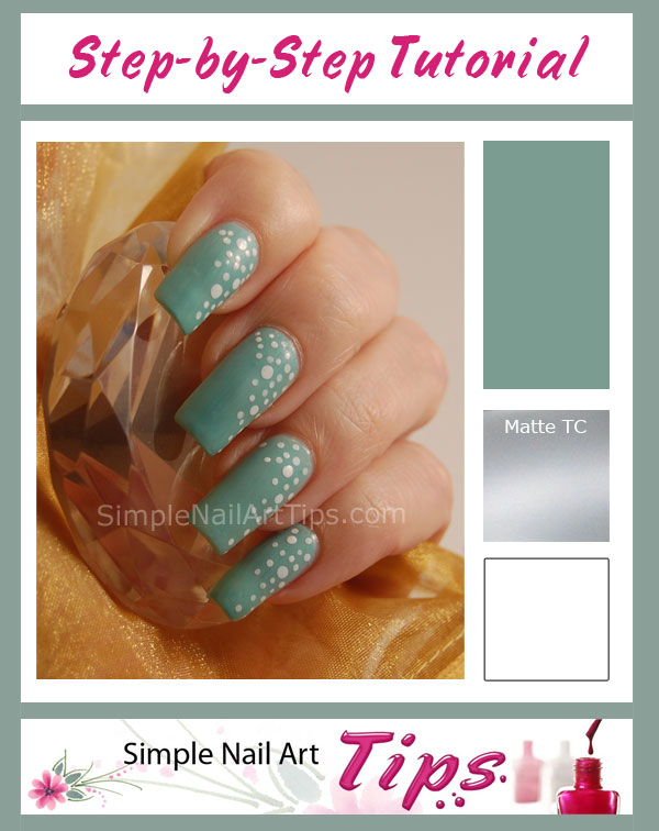 Matte Turqoise Nail Art Tutorial SIMPLE: White Dots on Turquoise Nail Art Tutorial