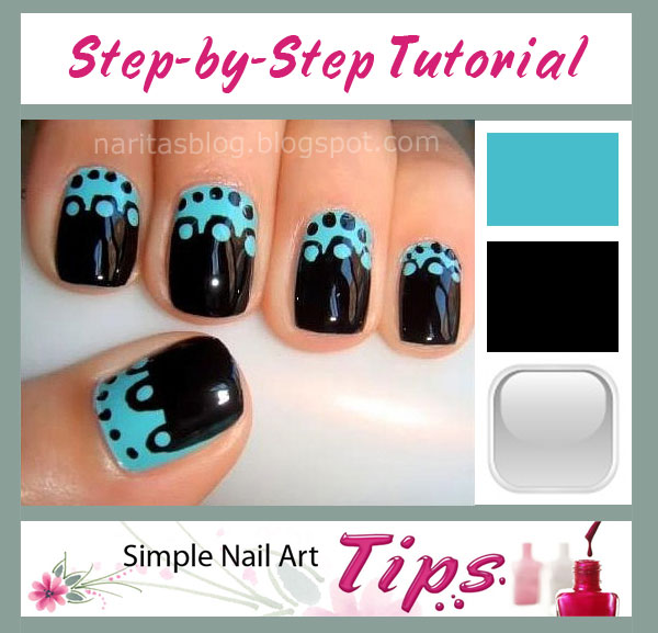 Turquoise Black Dotted Nail Art Tutorial SIMPLE: Turquoise & Black Dotted Nail Art Tutorial