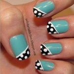 Turquoise Black White Dotted Tutorial e1337985971375 150x150 INTERMEDIATE: Dotted Black Diagonal French on Turquoise Nail Art Tutorial