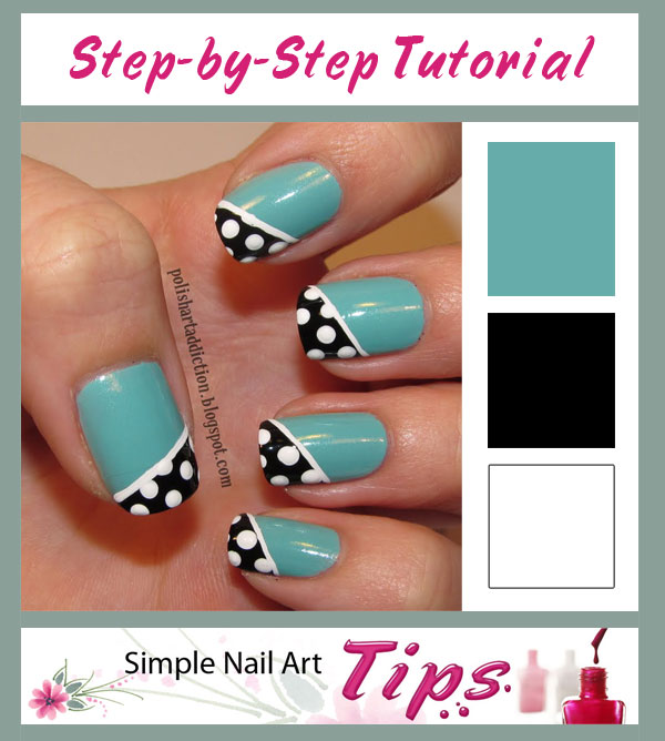 Turquoise Black White Dotted Tutorial INTERMEDIATE: Dotted Black Diagonal French on Turquoise Nail Art Tutorial