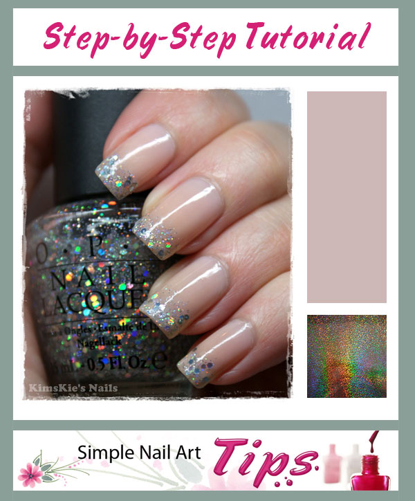 Simple Holographic French Manicure Nail Art Tutorial Simple Nail
