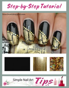 Black Gold French Nail Art Tutorial 237x300 Black Gold French Nail Art Tutorial