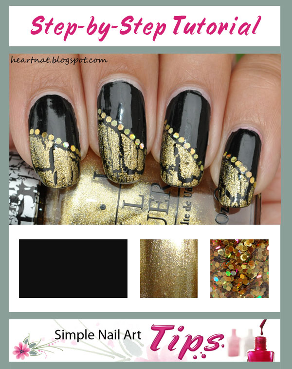 Black Gold French Nail Art Tutorial SIMPLE TUTORIAL: Gold Crackle Diagonal French on Black Nail Art