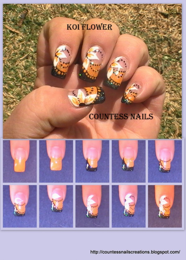 Black Orange Flower Nail Art Tutorial e1348259908435 Koi Flowers Nail Art Tutorial Entry