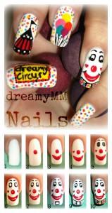 Clown nail art Tutorial 159x300 Circus Clown nail art Tutorial