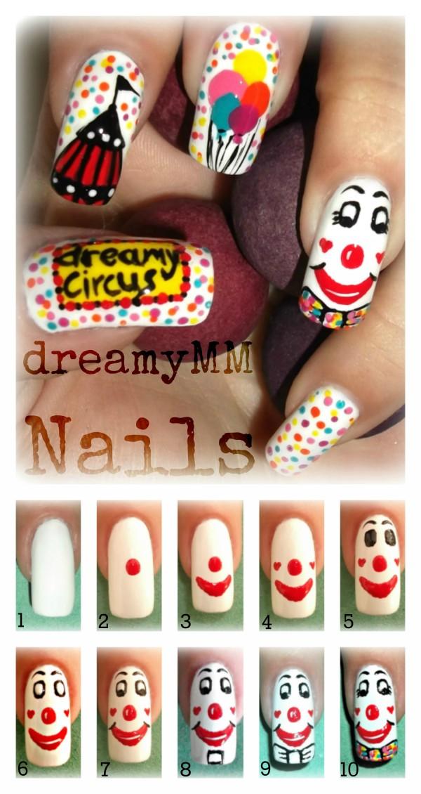 Clown nail art Tutorial e1348236519529 Circus Clown Nail Art Tutorial Entry