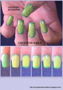 Green Border Dotted Nail Art Tutorial 209x300 Green Border on Yellow Dotted Nail Art Tutorial