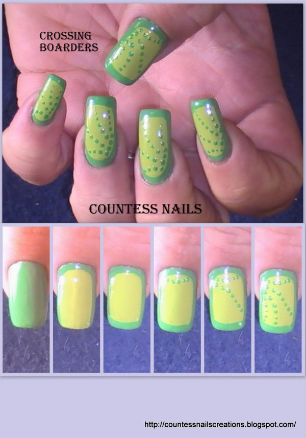 Green Border Dotted Nail Art Tutorial e1348236813115 Crossing Borders Nail Art Tutorial Entry