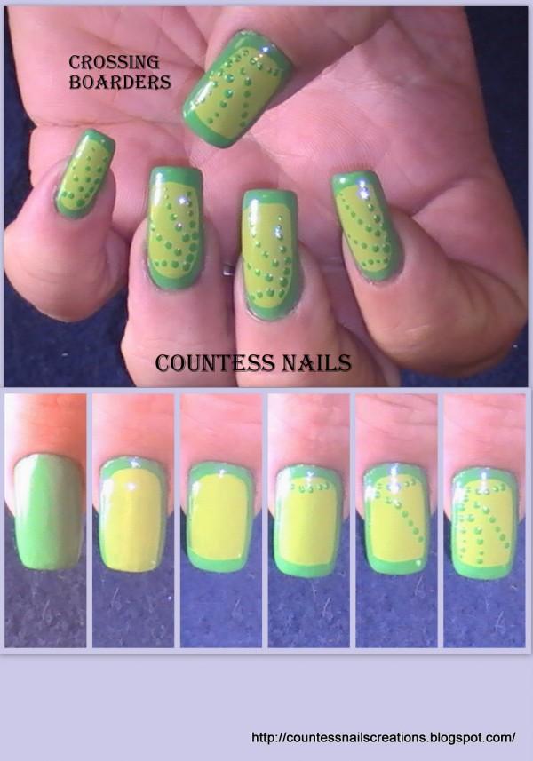 Green Border Dotted Nail Art Tutorial e1348236813115 Crossing Borders Nail Art Tutorial Entry