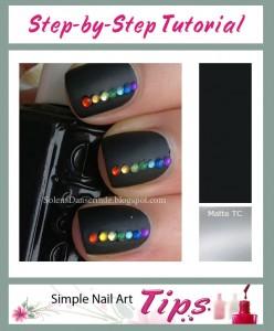 Rainbow Stones on Black Nail Art Manicure 248x300 Rainbow Stones on Black Nail Art Manicure