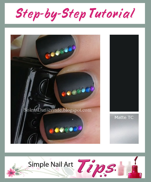 Rainbow Stones on Black Nail Art Manicure SIMPLE: Rainbow on Matte Black Nail Art Tutorial