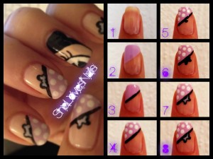 She Loves Nails Minnie nail art tutorial 300x225 Minnie Mouse Nail Art Tutorial Pink Purple