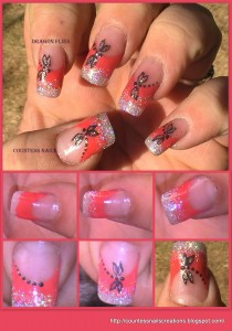 dragonflies red french nail art tutorial 210x300 Dragonflies Red French Nail Art Tutorial