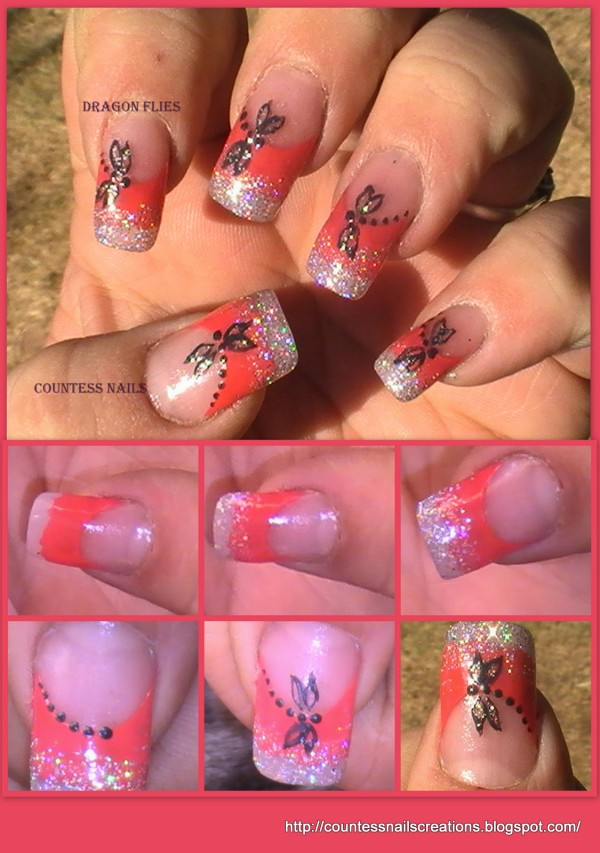 dragonflies red french nail art tutorial e1348236441859 Dragon Fly Red French Nail Art Tutorial Entry