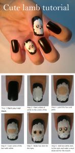 lamb santa nail art tutorial 147x300 Lamb Nail Art Tutorial Black