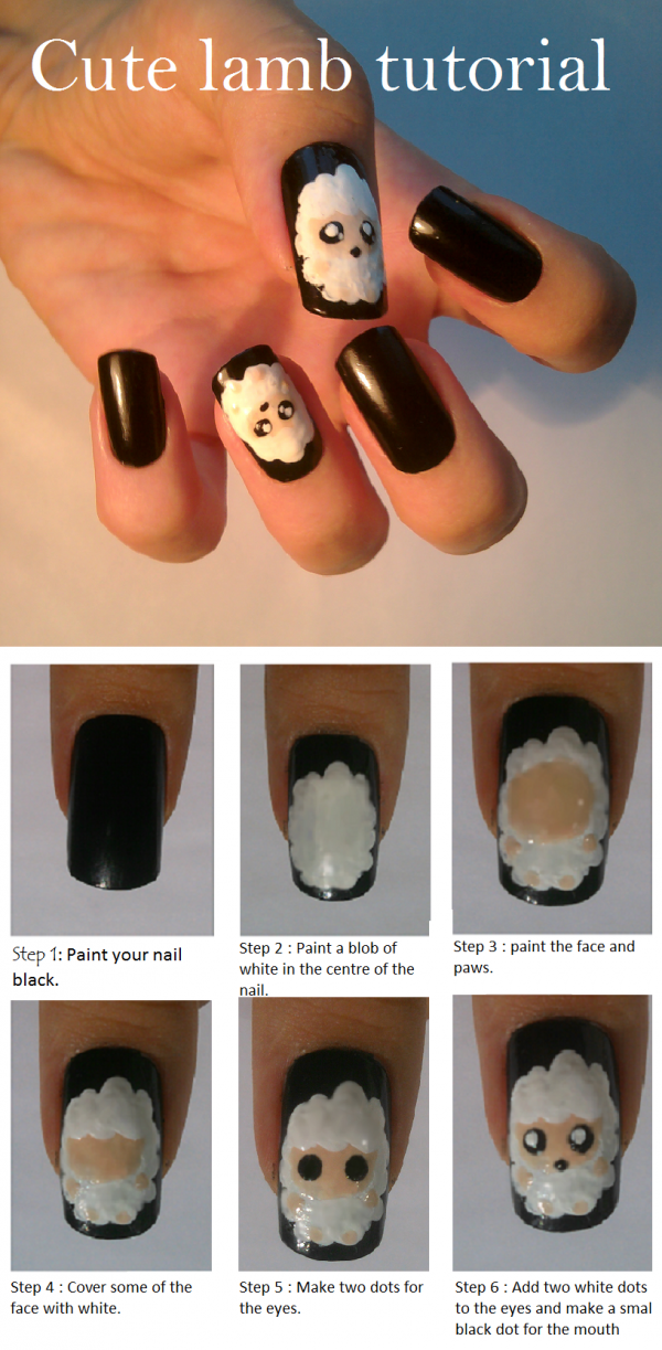 lamb santa nail art tutorial e1348236588344 Cute Lamb Nail Art Tutorial Entry