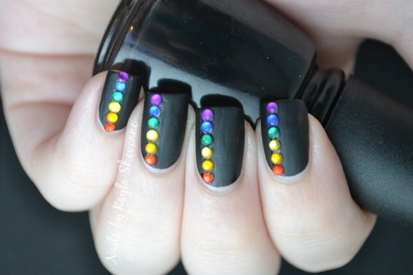 SIMPLE: Rainbow on Matte Black Nail Art Tutorial