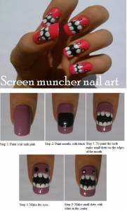 screen muncher pink nail art tutorial 181x300 Screen Muncher Pink Nail Art Tutorial