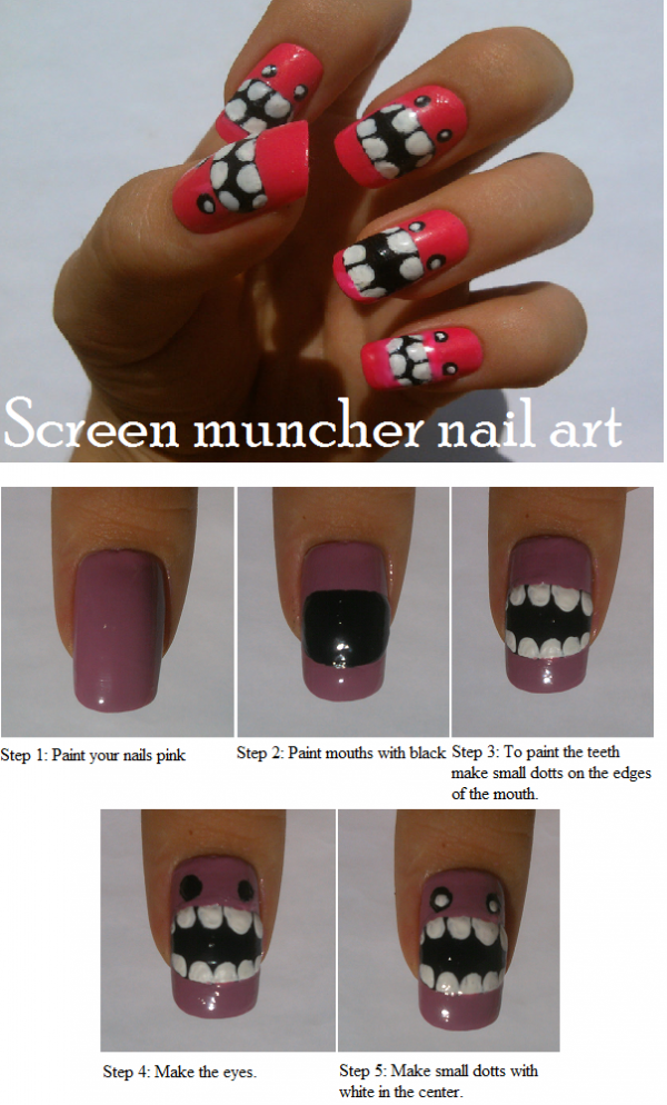 screen muncher pink nail art tutorial e1348236879453 Screen Muncher Nail Art Entry