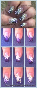 white flowers purple french nail art tutorial 128x300 White Flowers Purple French Nail Art Tutorial