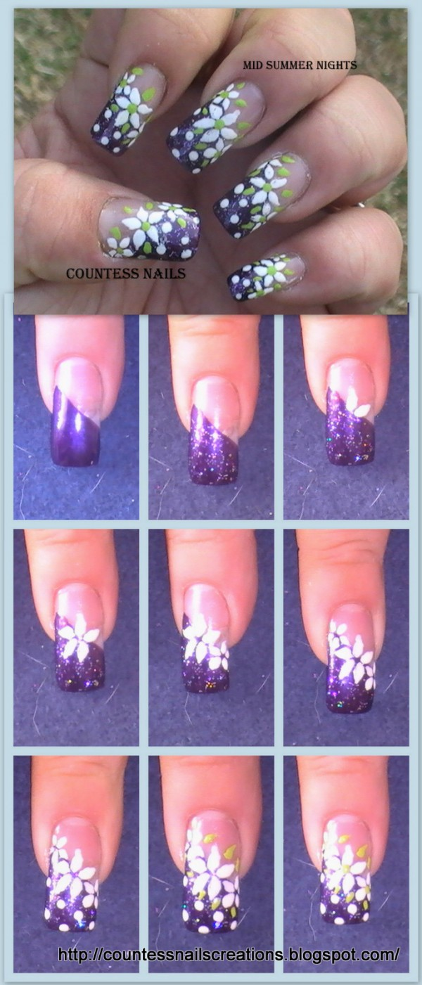 White Flowers Purple French Nail Art Tutorial