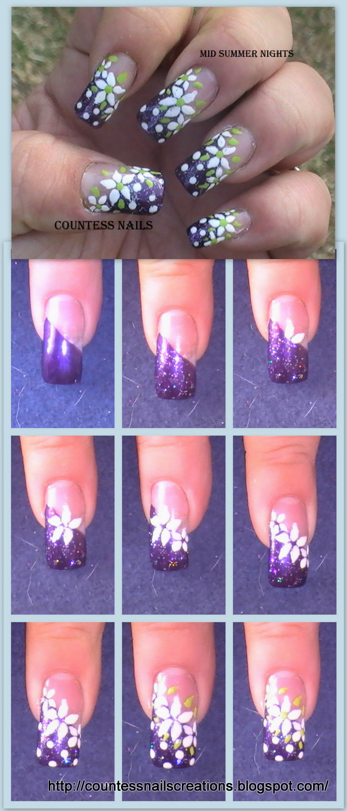 White Flowers Purple French Nail Art Tutorial E1348254007577 Mid Summer Nights Floral Entry