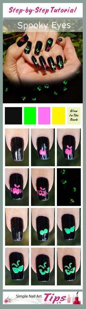 simple tutorial halloween nails � spooky eyes glow in