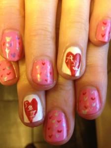 Hearts Valentines Nail Art 225x300 ENTRY: Valentines Nail Art   Loves Hearts On Pink Nail Art Tutorial