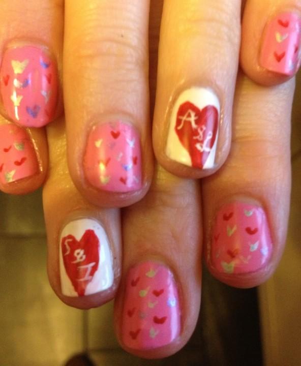 Hearts Valentines Nail Art e1360610744102 ENTRY: Valentines Nail Art   Loves Hearts On Pink Nail Art Tutorial