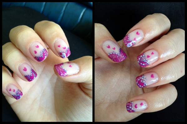 Justine Pink Purple Valentine Nail Art e1360545609807 ENTRY: Valentines Nail Art   Pink and Purple French