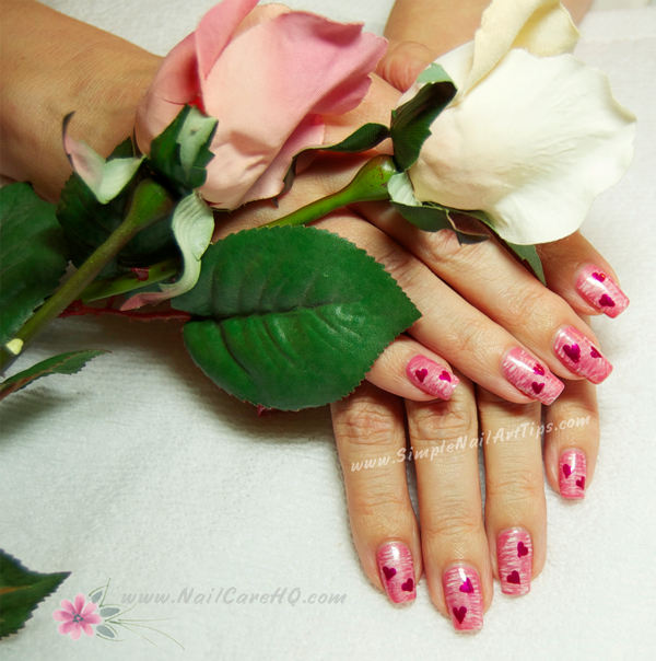 Sweet Pink Heart Nails for Valentines – Nail Art Tutorial | Simple ...