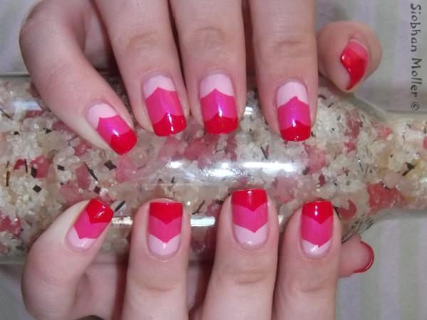 Taped Chevron Hearts Valentine Nail Art e1360612139650 ENTRY: Valentines Nail Art   Layered Chevrons in Pink