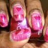 Valentine Hearts on Fanned Pink nail art