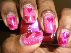 Valentine Hearts on Fanned Pink nail art 1 e1360611857489 300x224 ENTRY: Valentines Nail Art   Hearts on Fanned Pink Nail Art Tutorial