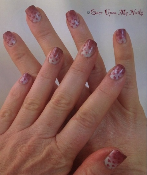 ENTRY: Valentines Nail Art   Gradient with Heart Stamping