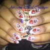 green and red heart valentine nail art