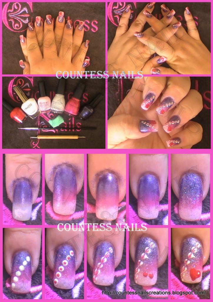 valentines purple pink sponged nail art 724x1024 ENTRY: Valentines Nail Art   Hearts on Pink/Purple Gradient