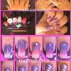 valentines purple pink sponged nail art